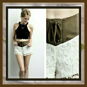 Suede-like & Lace Lined Shorts